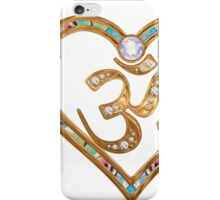 Two nesting golden hearts centered in OM  iPhone Case/Skin