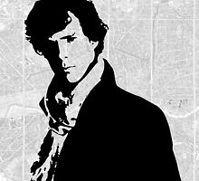 Sherlock With London Map by pithypenny