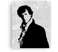 Sherlock With London Map Canvas Print
