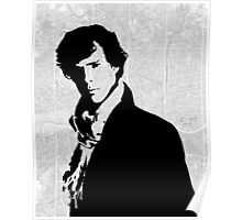Sherlock With London Map Poster