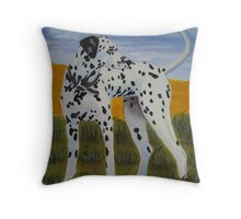 Dalmation dog oil painting Throw Pillow