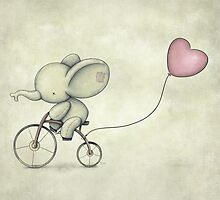 Cute Elephant riding his Bike by mikekoubou