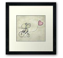 Cute Elephant riding his Bike Framed Print