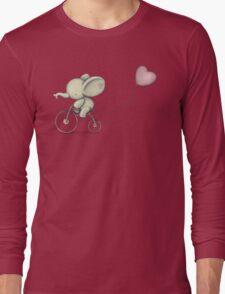 Cute Elephant riding his Bike Long Sleeve T-Shirt