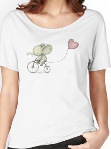 Cute Elephant riding his Bike Women's Relaxed Fit T-Shirt