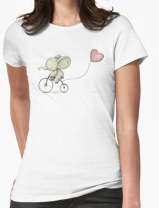 Cute Elephant riding his Bike Womens Fitted T-Shirt