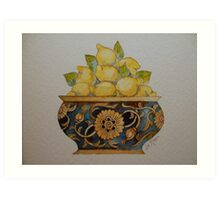Lemons in Ornate Vintage Bowl 'Miniature Still Life' © Patricia Vannucci 2008 Art Print