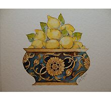 Lemons in Ornate Vintage Bowl 'Miniature Still Life' © Patricia Vannucci 2008 Photographic Print