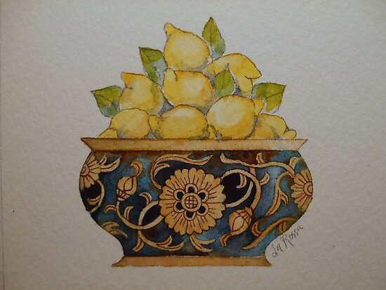 Lemons in Ornate Vintage Bowl 'Miniature Still Life' © Patricia Vannucci 2008 by PERUGINA
