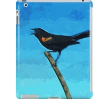 Red-Winged Blackbird Singing Abstract Impressionism iPad Case/Skin