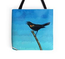 Red-Winged Blackbird Singing Abstract Impressionism Tote Bag