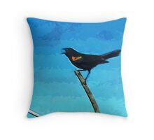Red-Winged Blackbird Singing Abstract Impressionism Throw Pillow