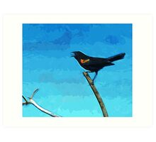 Red-Winged Blackbird Singing Abstract Impressionism Art Print