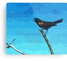 Red-Winged Blackbird Singing Abstract Impressionism Metal Print