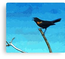 Red-Winged Blackbird Singing Abstract Impressionism Canvas Print