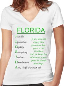 Florida- Cosmetic Surgery Women's Fitted V-Neck T-Shirt