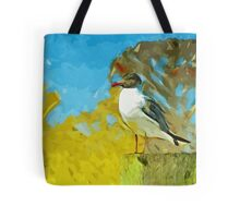 Laughing Gull on Florida Pier Abstract Impressionism Tote Bag