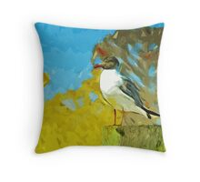 Laughing Gull on Florida Pier Abstract Impressionism Throw Pillow