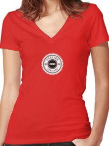 Cycling Portland Chain Ring Women's Fitted V-Neck T-Shirt