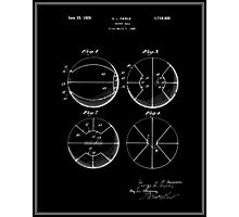 Basketball Patent - Black Photographic Print