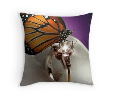 The Butterfly and the Engagement Ring Throw Pillow