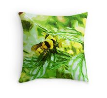 Honey Bee on Yellow Flowers Abstract Impressionism Throw Pillow