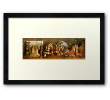 The Travelers Bookcase Framed Print