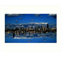 Abstract Sky City of Seattle v1 Art Print