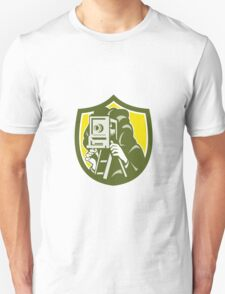 Photographer Shooting Vintage Camera Shield Retro Unisex T-Shirt