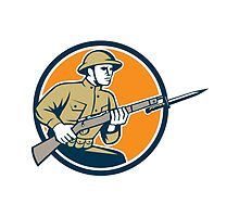 World War One Soldier American Retro Circle by patrimonio