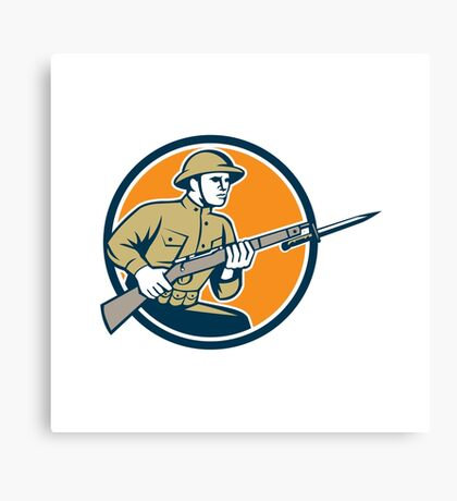 World War One Soldier American Retro Circle Canvas Print