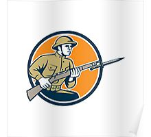 World War One Soldier American Retro Circle Poster