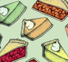 Easy As Pie - cute illustrations of pie on sage green  Sticker