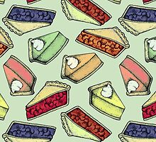 Easy As Pie - cute illustrations of pie on sage green  by Perrin Le Feuvre