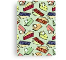Easy As Pie - cute illustrations of pie on sage green  Canvas Print