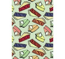 Easy As Pie - cute illustrations of pie on sage green  Photographic Print