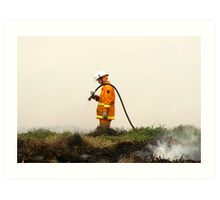Lonely Fireman Art Print