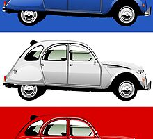 Citroën 2CV red, white and blue by car2oonz