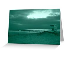 Blue Green Day At The Beach Greeting Card