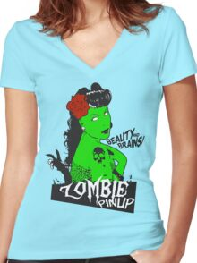 Zombie Pinup #2 Women's Fitted V-Neck T-Shirt