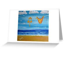 itsy bitsy teeny weenie orange polka dot bikini Greeting Card