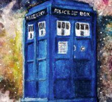 TARDIS in space watercolour art  Sticker