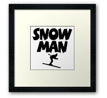 Snowman Ski Framed Print