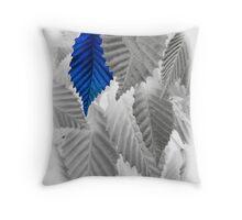 blue leaf Throw Pillow