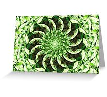 Leafy Green Kaleidoscope Mandala Greeting Card
