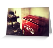 old freezer coca cola Greeting Card