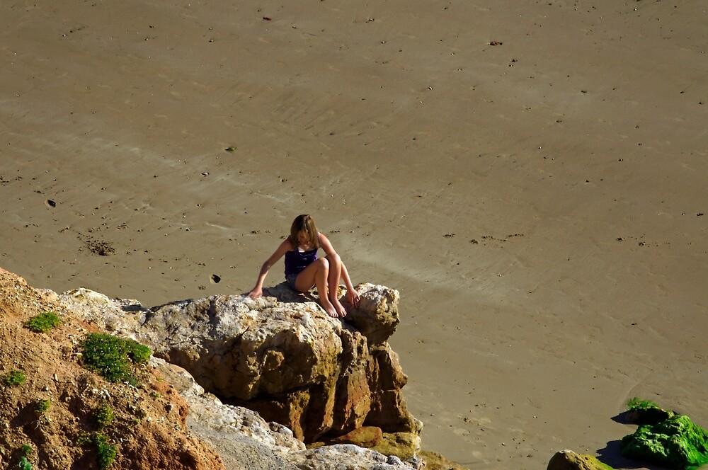 Girl On The Rocks, Compton Bay by Rod Johnson
