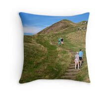 Walking Up Mam Tor Throw Pillow