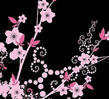 Cherry Blossom, Sakura Flowers - Pink Black  by sitnica