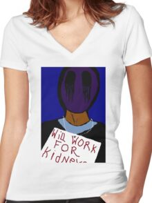 Eyeless Jack: Hard Times Women's Fitted V-Neck T-Shirt
